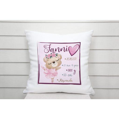 Párna - Baba születési adatos - Balerina maci - rózsaszín