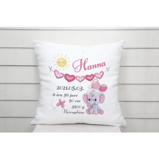 Párna - Baba születési adatos - Cuki elefánt - rózsaszín
