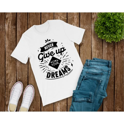 polo-never give up on your dreams-motivacios-polo-feher-fekete